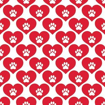 Corazón de patrones sin fisuras de huella de pata de perro