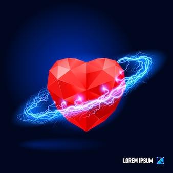 Corazón rodeado de electricidad azul