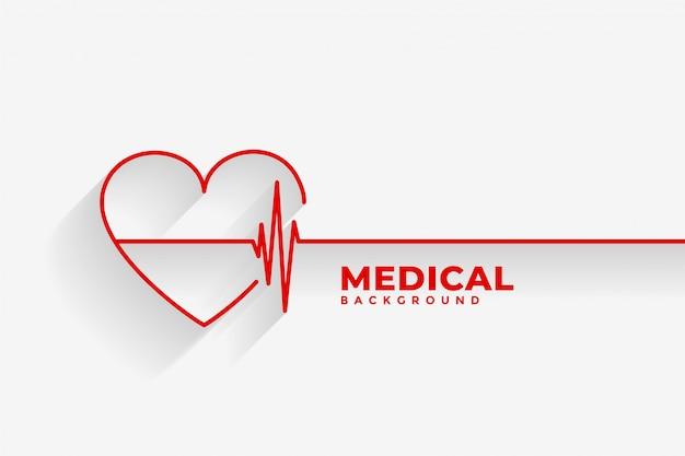 Corazón rojo con antecedentes médicos de la línea del latido del corazón