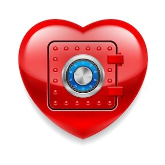 Corazón rojo brillante como caja fuerte