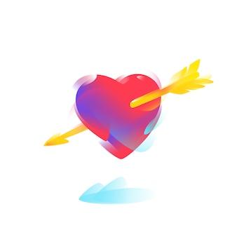 Corazón rojo con una flecha dorada.