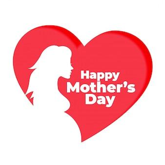 Corazón rojo con fondo de silueta de madre embarazada