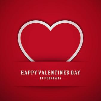 Corazón rojo de papel ilustración de vector de fondo de tarjeta de felicitación del día de san valentín