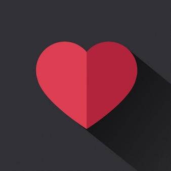 Corazón rojo plano