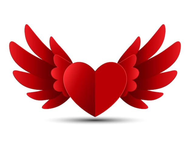 Corazón rojo de san valentín con alas