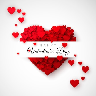 Corazón rojo - símbolo del amor. confeti de corazones. tarjeta o banner del día de san valentín. patrón para cartel y envoltorio. ilustración sobre fondo blanco