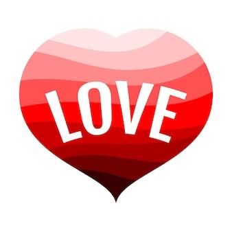 Corazón rojo sobre un fondo blanco con una inscripción amor. ilustración vectorial.