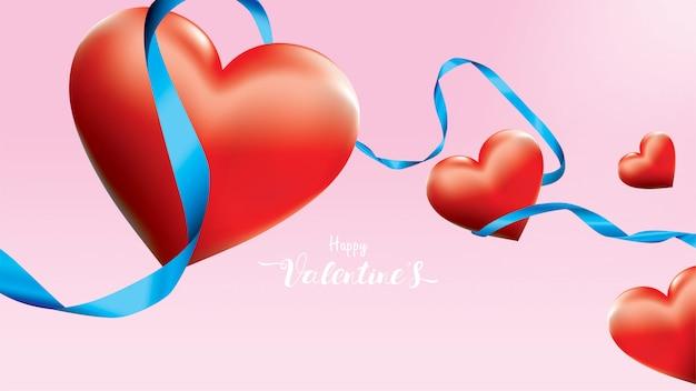El corazón romántico rojo colorido de la tarjeta del día de san valentín 3d forma el vuelo y la cinta de seda azul flotante en fondo rosado.