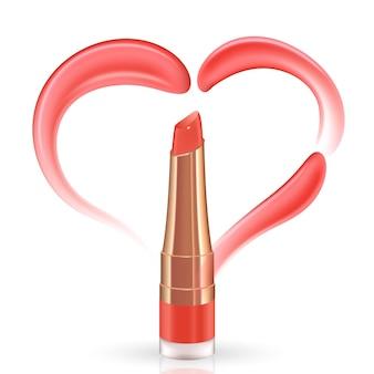 Corazón rosa de crema de vector realista o frotis de lápiz labial aislado sobre fondo blanco.