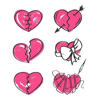 Corazón roto en fondo blanco. ilustración dibujada a mano.