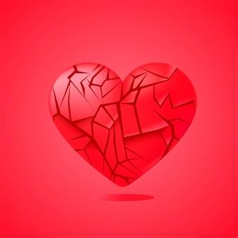 Corazón roto sellado aislado. fragmentos de cristal rojo.