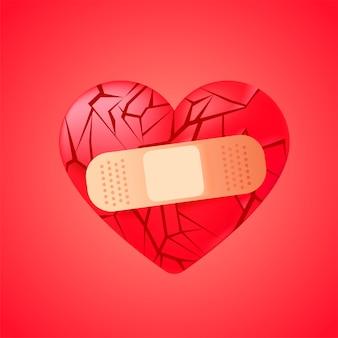 Corazón roto sellado con vendaje médico.