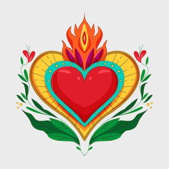 Corazón sagrado colorido ilustrado