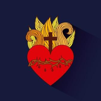Corazón sagrado del icono de jesús