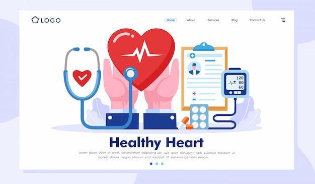 Corazón saludable página de aterrizaje sitio web ilustración vector plantilla