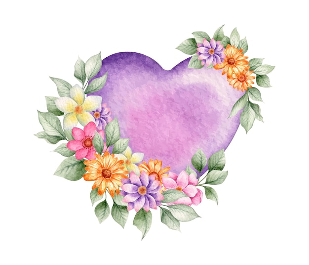 Corazón de san valentín acuarela púrpura con flores de colores