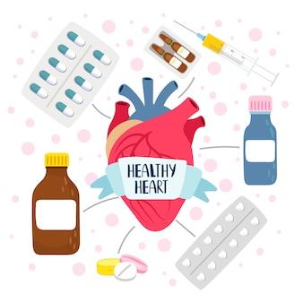 Corazón sano y pastillas