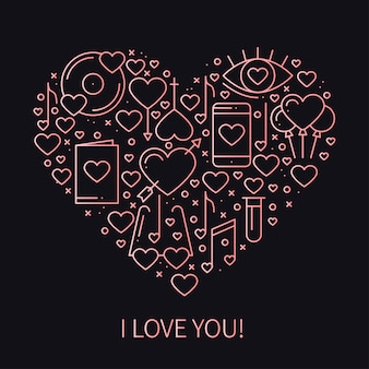 Corazón con simbolos de amor