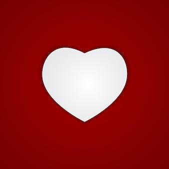Corazón sobre fondo rojo ilustración vectorial eps10