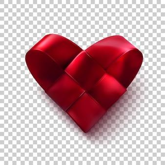 Corazón tejido rojo realista. símbolo del día de san valentín con cintas de raso trenzado. concepto de amor
