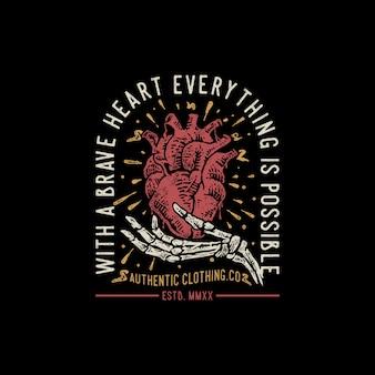 Corazón valiente cotizaciones dibujado mano ilustración vintage