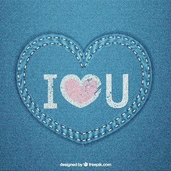 Corazón vaquero azul