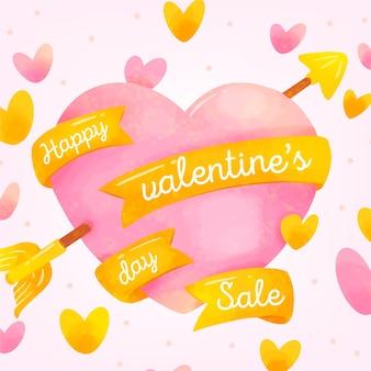 Corazón de venta de san valentín acuarela con cintas