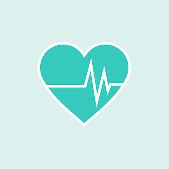 Corazón verde con elemento cardiógrafo