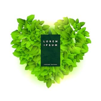 Corazón verde hecho con diseño de hojas