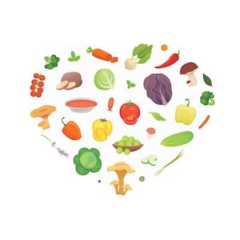 Corazón de verduras de dibujos animados. fondo de ilustración de alimentos saludables.
