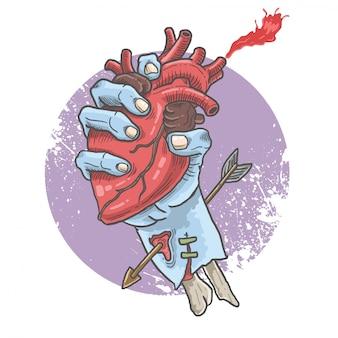 Corazón zombie agarrando la mano