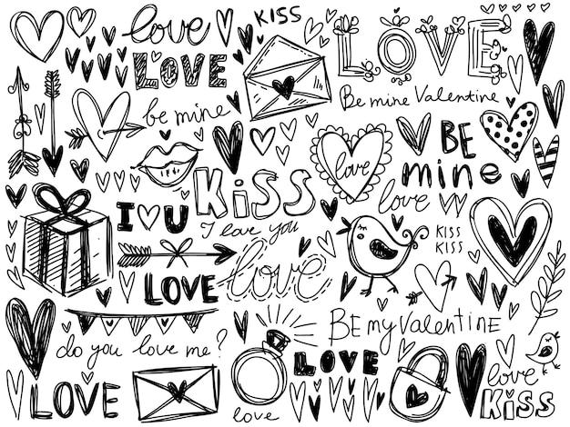 Corazones, amor colección de vectores de caligrafía.