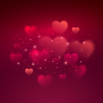 Corazones brillantes bokeh fondo del día de san valentín. ilustración vectorial