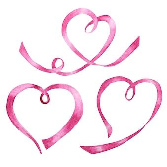 Corazones de cinta acuarela, concepto de amor