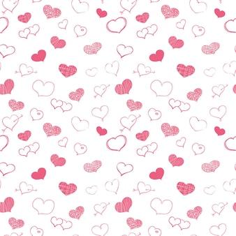 Corazones de color rosa doodle sobre fondo blanco vectror de patrones sin fisuras