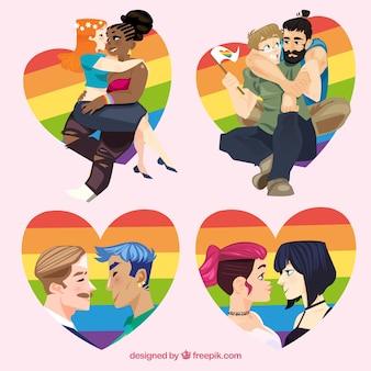 Corazones coloridos con parejas enamoradas