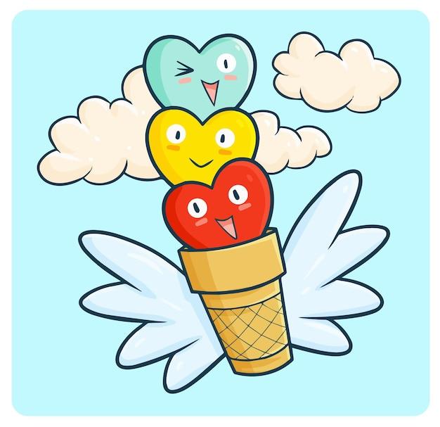 Corazones divertidos y coloridos volando en cono de helado en estilo kawaii doodle