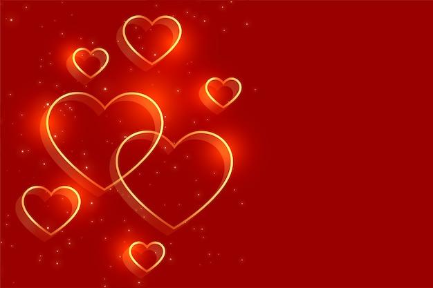 Corazones dorados sobre fondo rojo para el día de san valentín