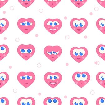 Corazones emoción patrón vector ilustración icono comic