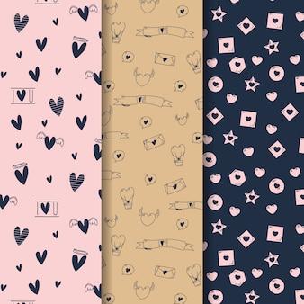 Corazones y estrellas de patrones sin fisuras de san valentín