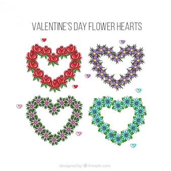 Corazones florales de san valentín