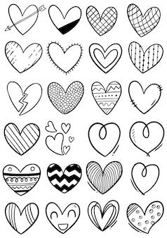 Corazones de garabatos dibujados a mano