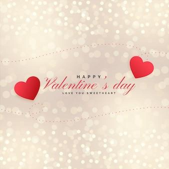 Corazones hermosos del día de tarjetas del día de san valentín en fondo del bokeh