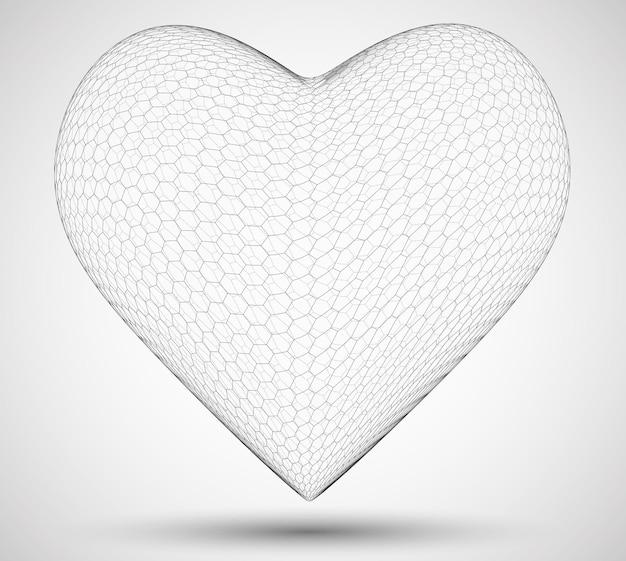 Corazones hexagonales 3d. sobre un fondo de color. símbolo del amor y la salud del corazón