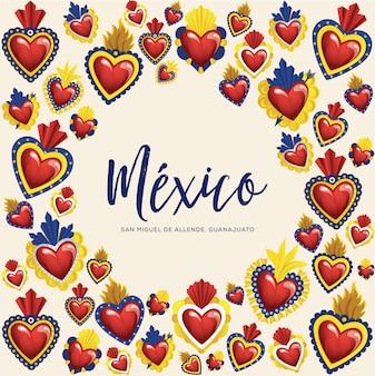 Corazones de latón sagrados mexicanos tradicionales de san miguel de allende