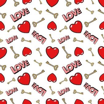 Corazones y llaves doradas de patrones sin fisuras. fondo de amor en estilo de moda retro. ilustración