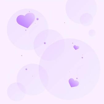 Corazones morados en burbujas