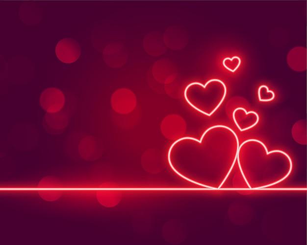 Los corazones de neón aman el diseño del día de san valentín