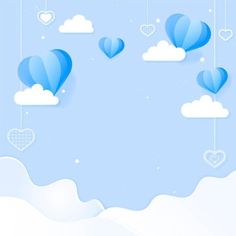 Corazones y nubes colgantes
