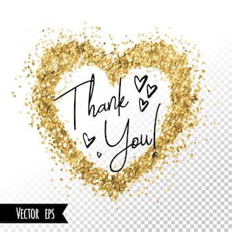 Corazones de oro brillo de trazo de pincel. gracias diseño de tarjeta. redes de medios sociales hermoso fondo de plantilla de marco. lámina dorada punto abstracto.